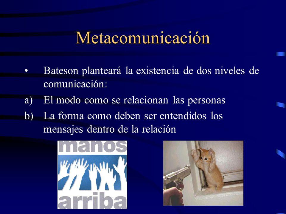 Metacomunicación Bateson planteará la existencia de dos niveles de comunicación: El modo como se relacionan las personas.