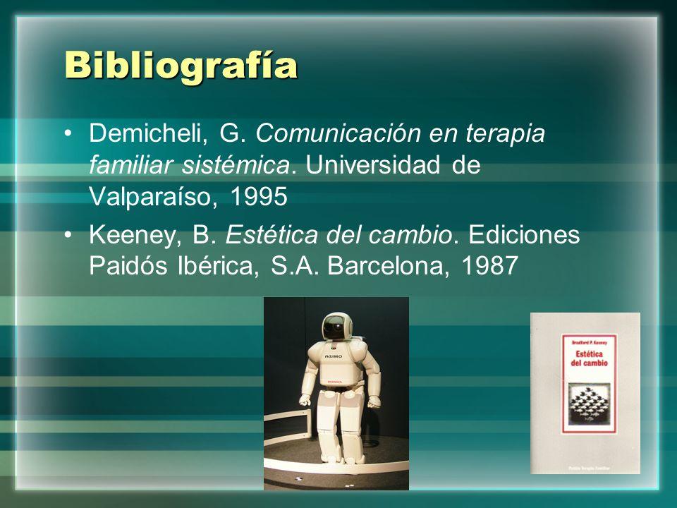 BibliografíaDemicheli, G. Comunicación en terapia familiar sistémica. Universidad de Valparaíso, 1995.