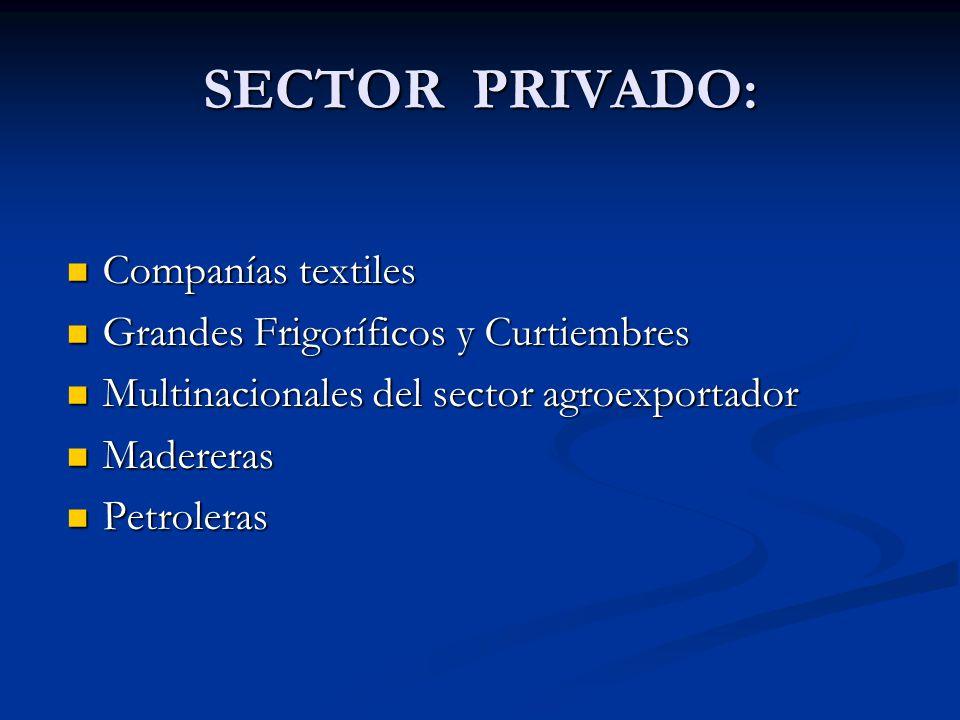 SECTOR PRIVADO: Companías textiles Grandes Frigoríficos y Curtiembres