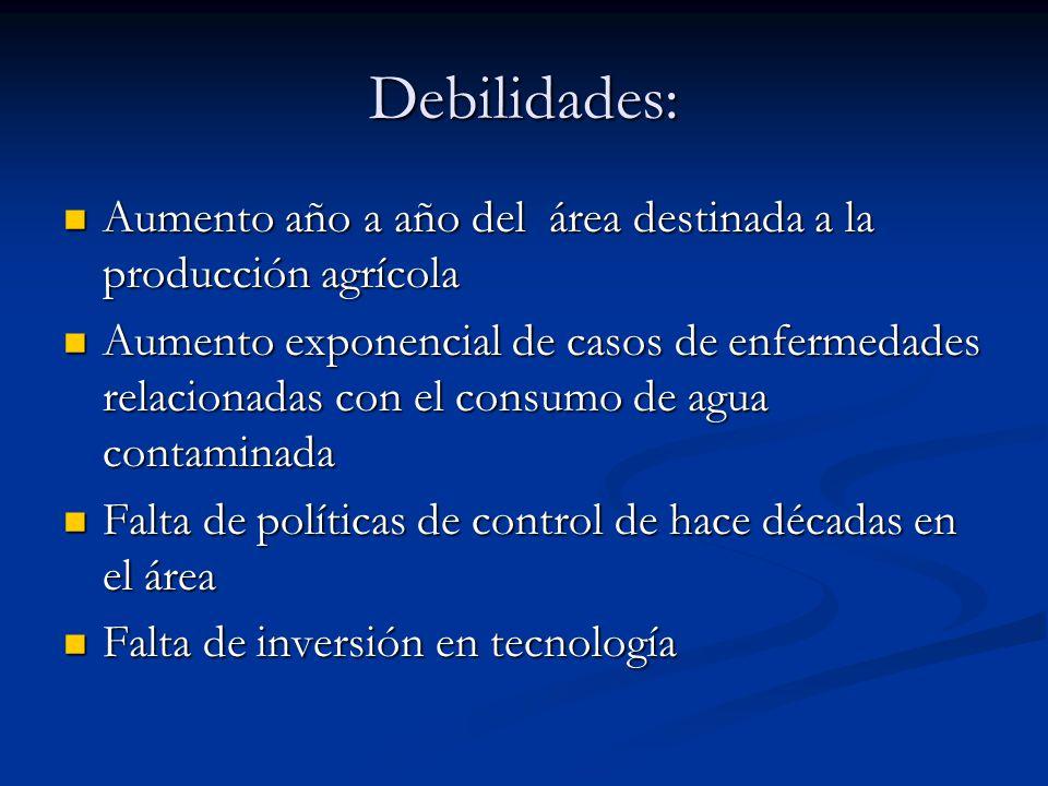 Debilidades: Aumento año a año del área destinada a la producción agrícola.