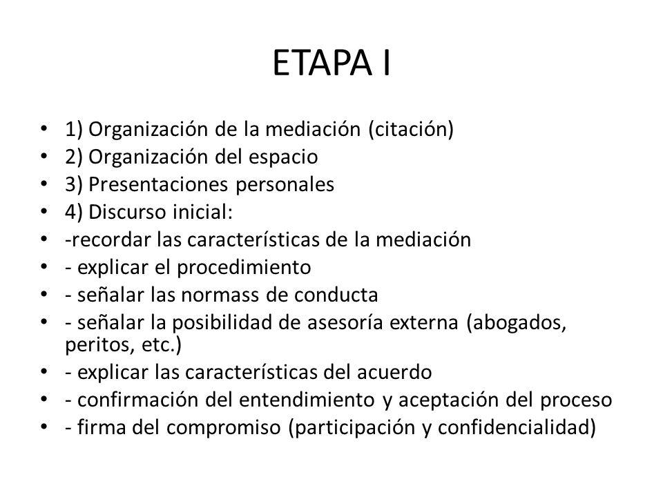 ETAPA I 1) Organización de la mediación (citación)