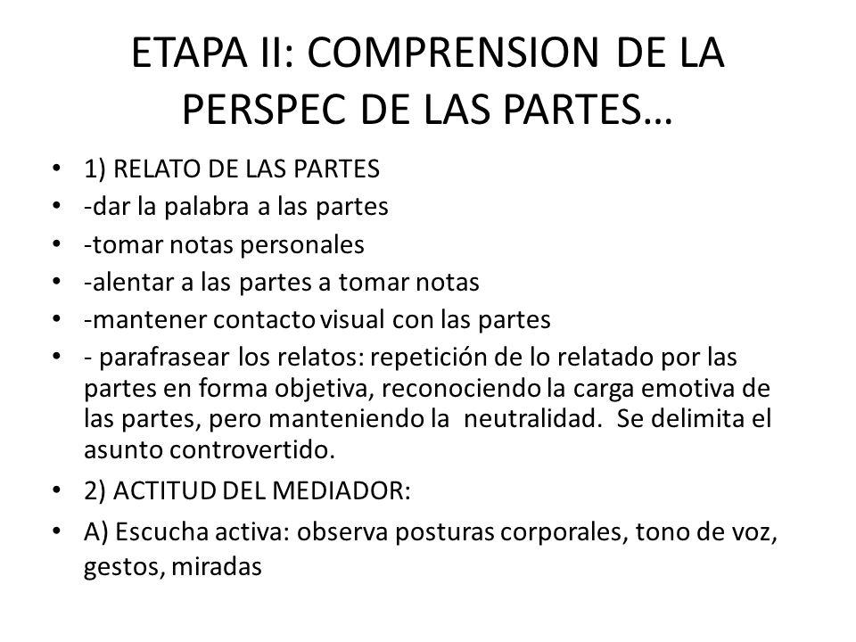 ETAPA II: COMPRENSION DE LA PERSPEC DE LAS PARTES…