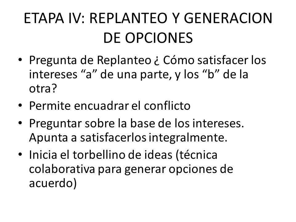 ETAPA IV: REPLANTEO Y GENERACION DE OPCIONES