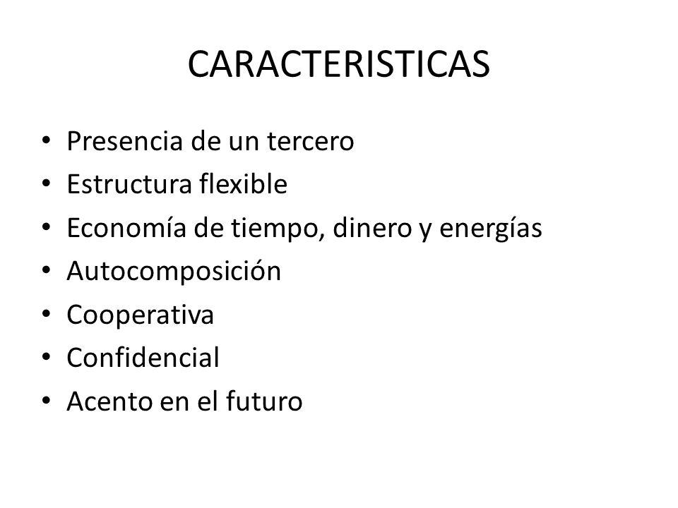 CARACTERISTICAS Presencia de un tercero Estructura flexible