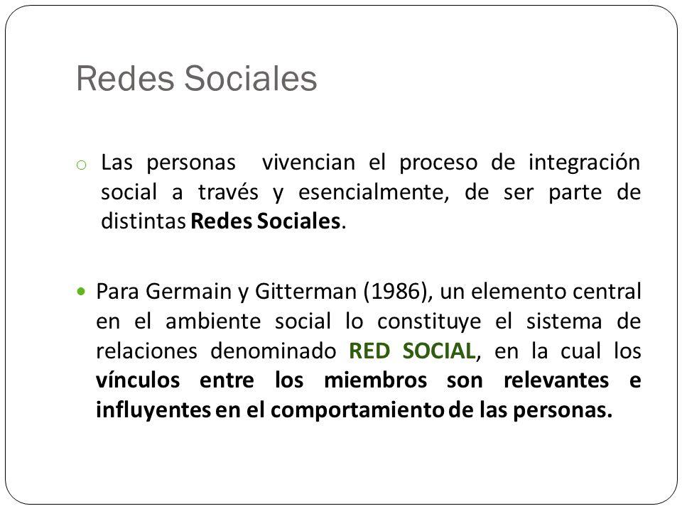 Redes Sociales Las personas vivencian el proceso de integración social a través y esencialmente, de ser parte de distintas Redes Sociales.