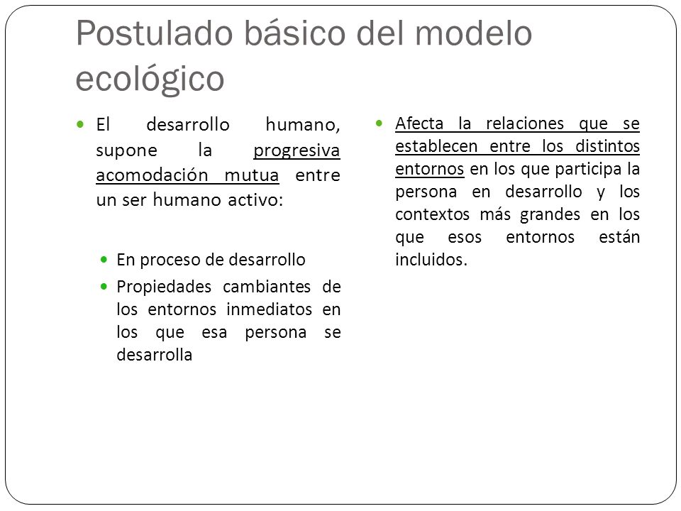 Postulado básico del modelo ecológico