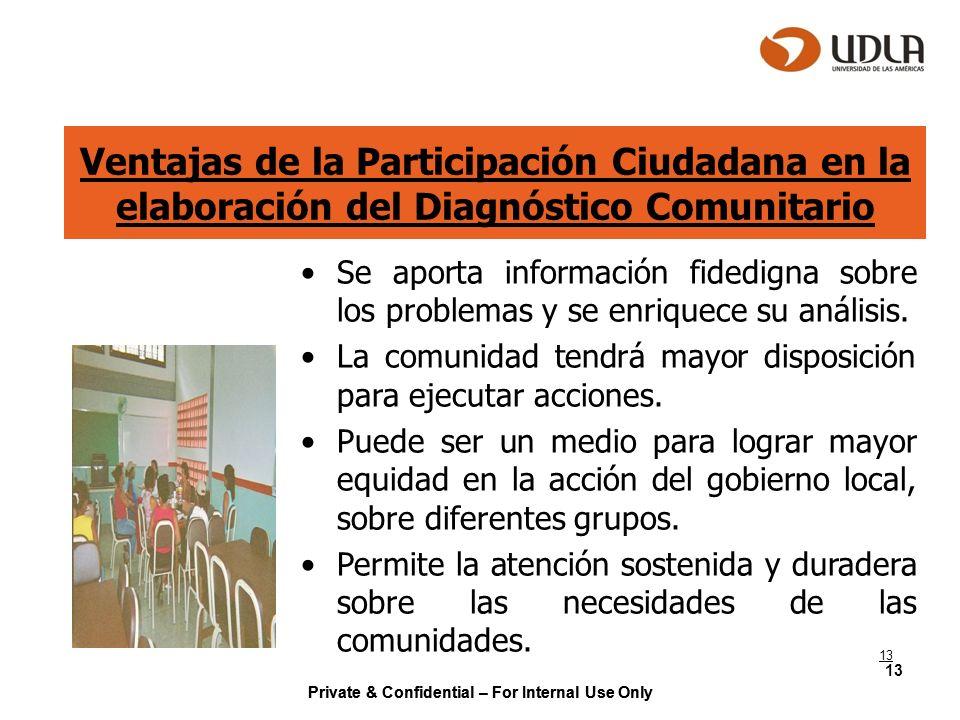 Ventajas de la Participación Ciudadana en la elaboración del Diagnóstico Comunitario