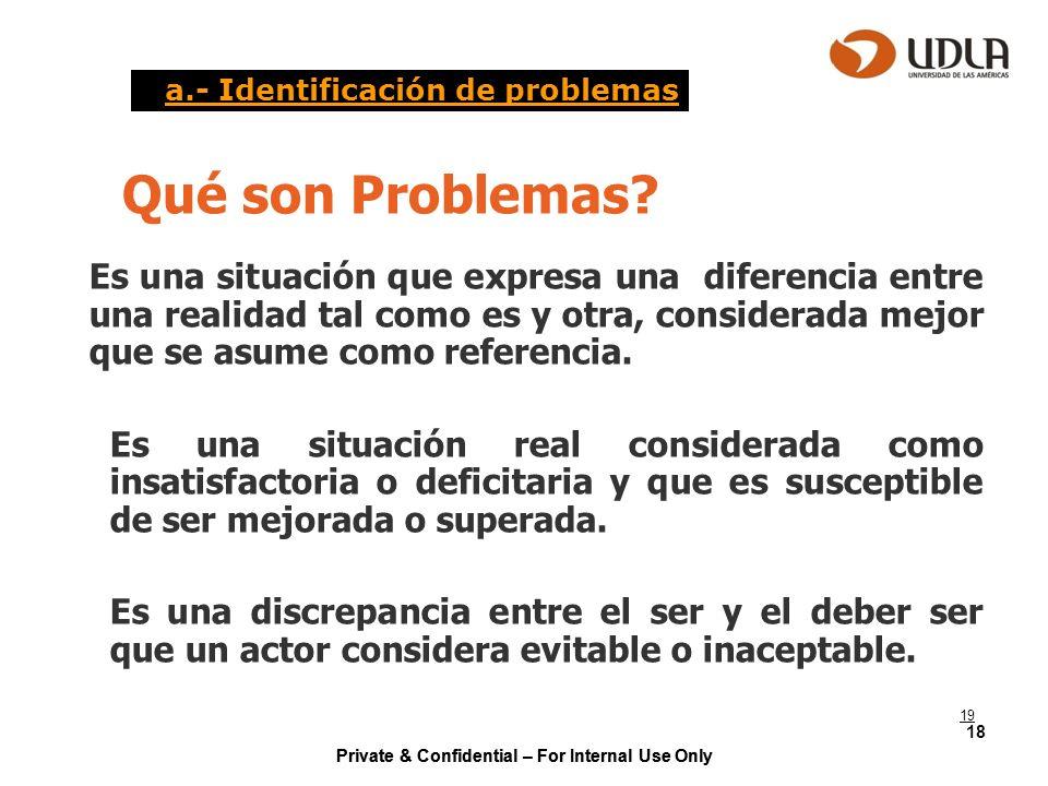 a.- Identificación de problemas