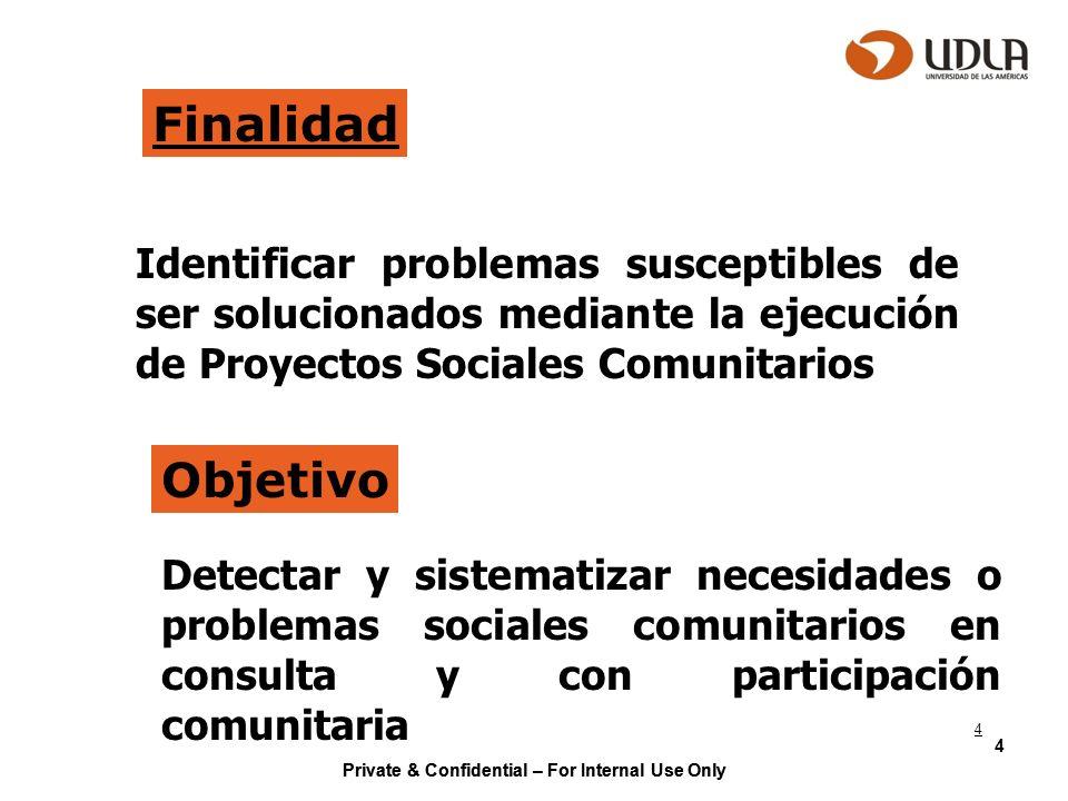 Finalidad Identificar problemas susceptibles de ser solucionados mediante la ejecución de Proyectos Sociales Comunitarios.