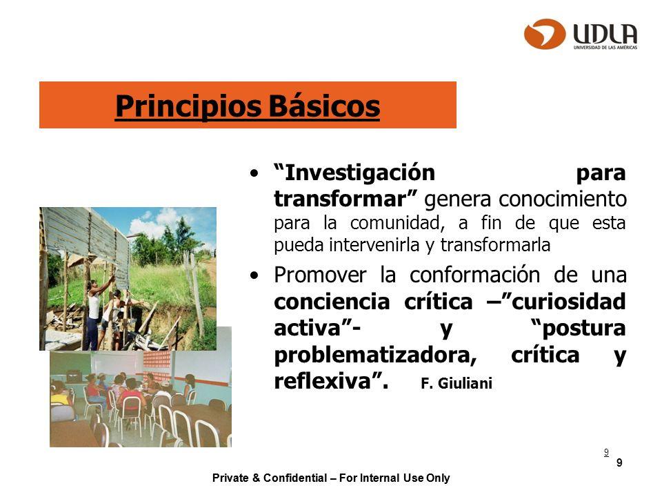 Principios Básicos Investigación para transformar genera conocimiento para la comunidad, a fin de que esta pueda intervenirla y transformarla.