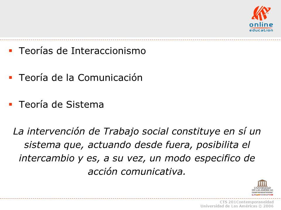 Teorías de Interaccionismo Teoría de la Comunicación Teoría de Sistema