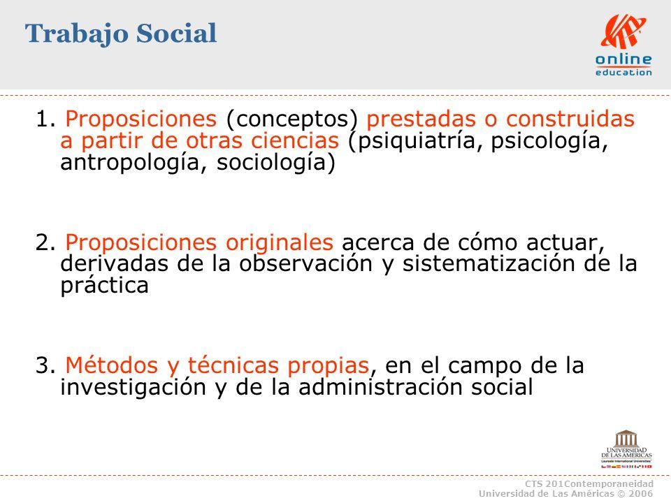 Trabajo Social1. Proposiciones (conceptos) prestadas o construidas a partir de otras ciencias (psiquiatría, psicología, antropología, sociología)