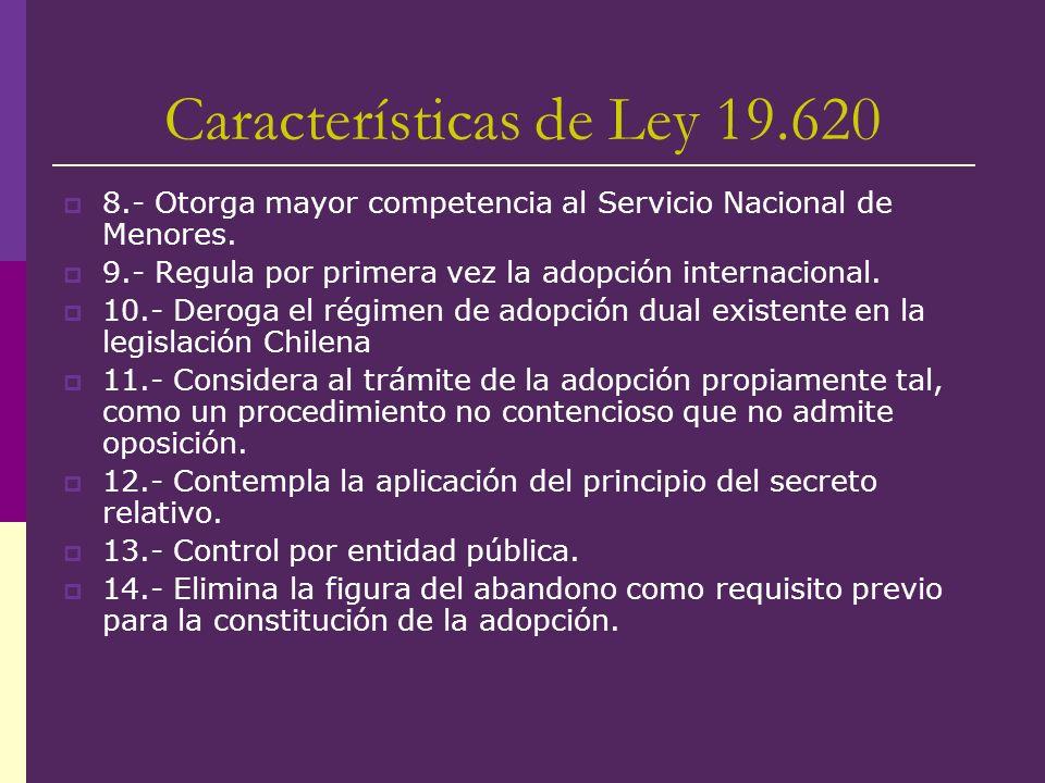 Características de Ley 19.620