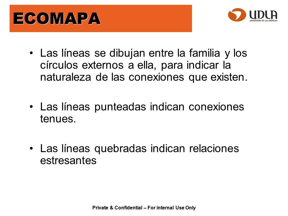 ECOMAPA Las líneas se dibujan entre la familia y los círculos externos a ella, para indicar la naturaleza de las conexiones que existen.