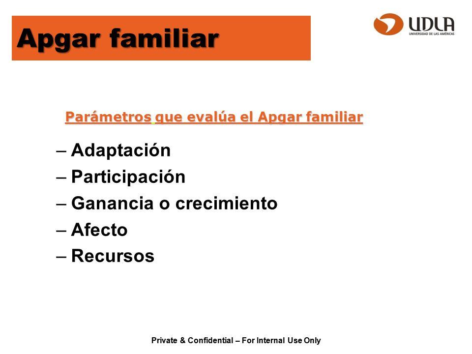 Parámetros que evalúa el Apgar familiar