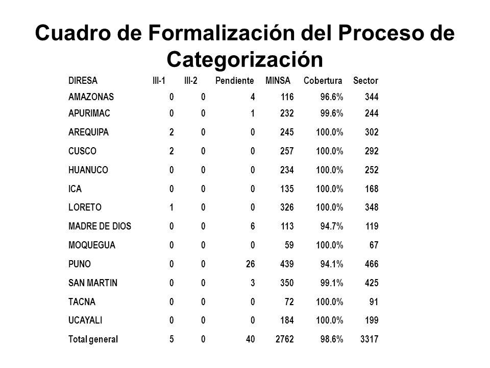 Cuadro de Formalización del Proceso de Categorización