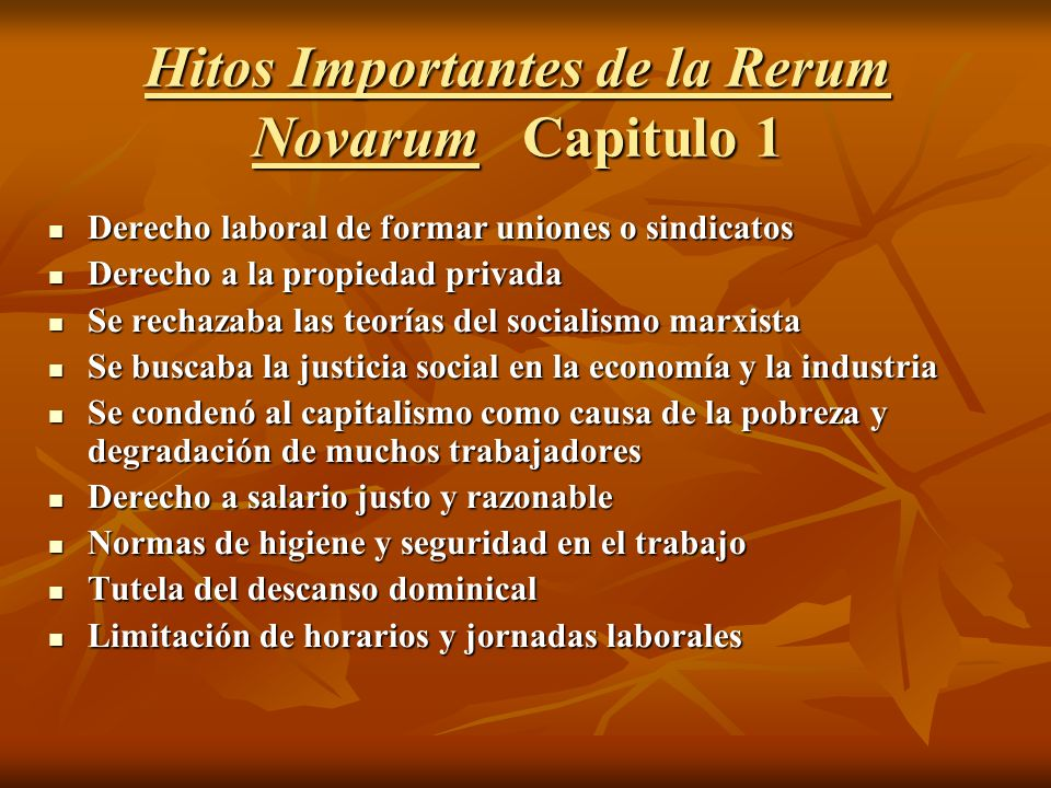 Hitos Importantes de la Rerum Novarum Capitulo 1