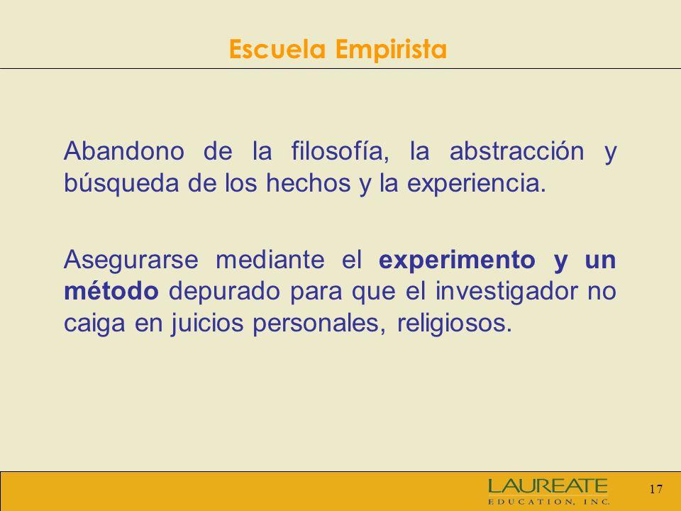 Escuela Empirista Abandono de la filosofía, la abstracción y búsqueda de los hechos y la experiencia.