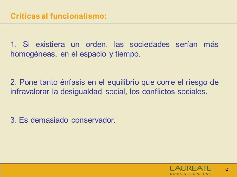 Críticas al funcionalismo: