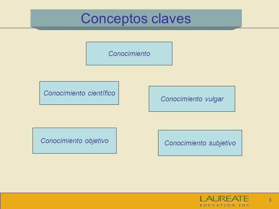 Conceptos claves Conocimiento Conocimiento científico