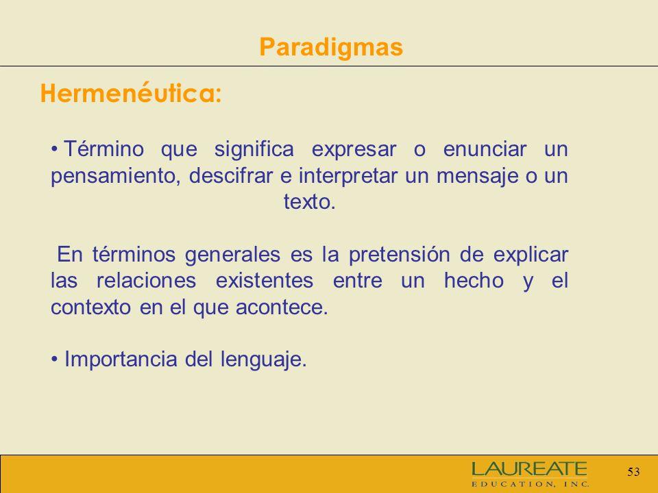 Paradigmas Hermenéutica: