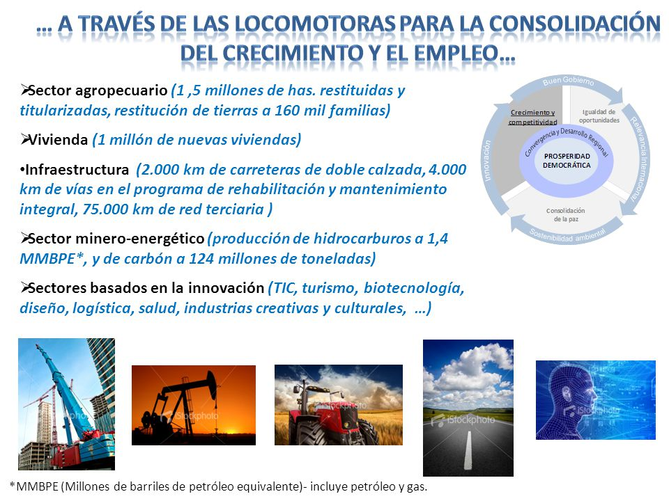 … a través de las locomotoras para la consolidación del crecimiento y el empleo…