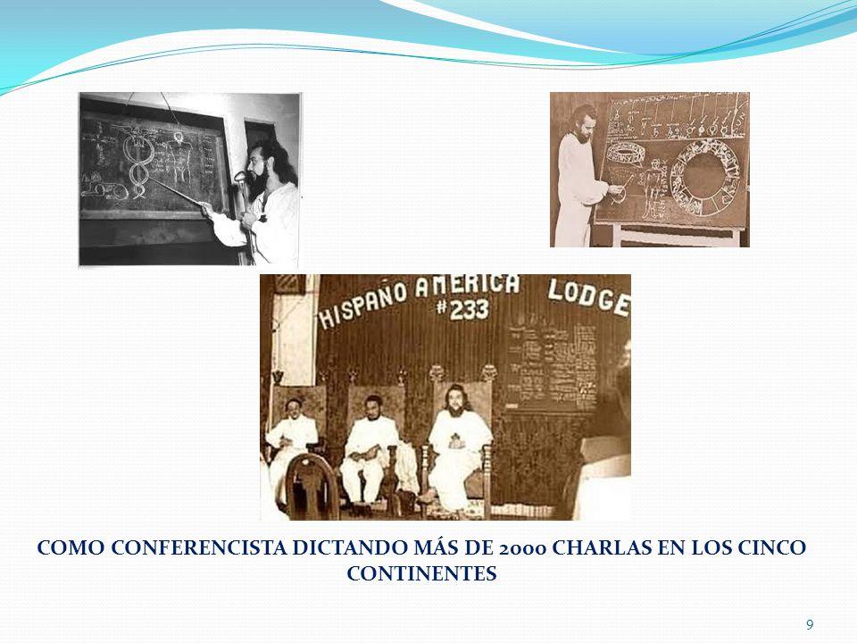 COMO CONFERENCISTA DICTANDO MÁS DE 2000 CHARLAS EN LOS CINCO CONTINENTES