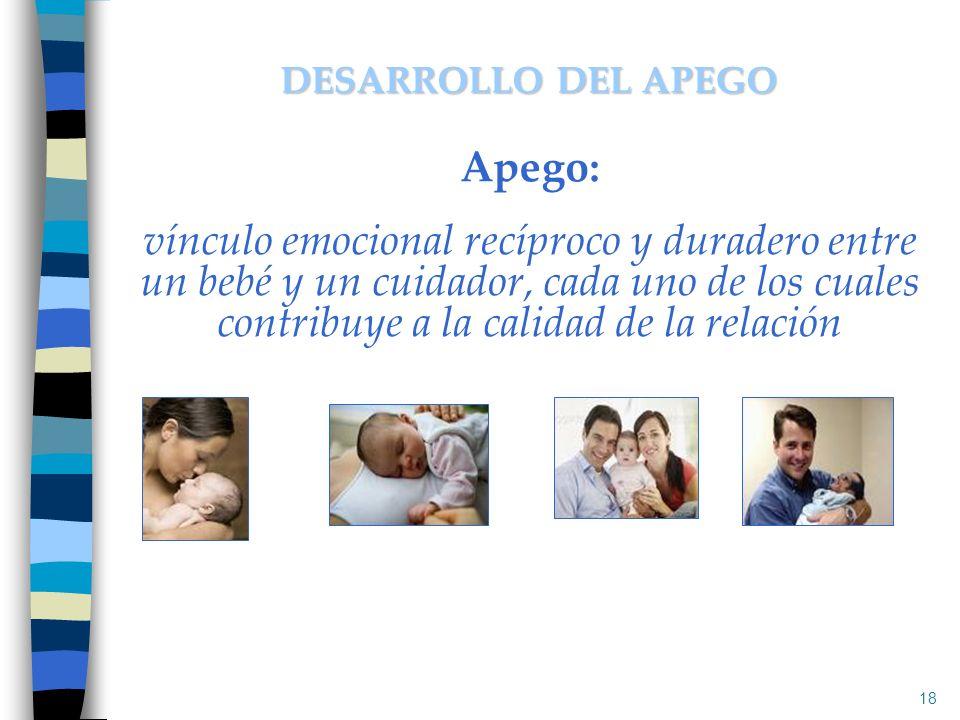 DESARROLLO DEL APEGO Apego: