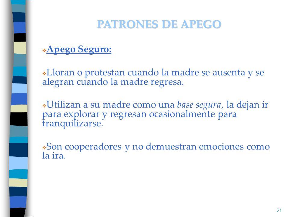 PATRONES DE APEGO Apego Seguro: