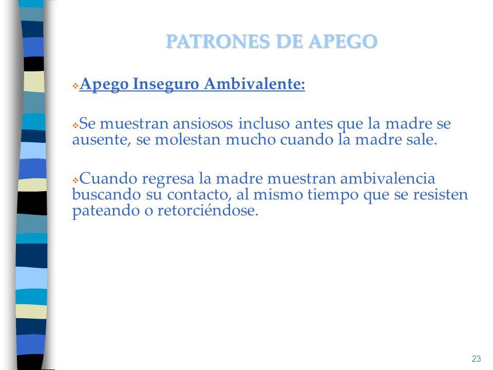 PATRONES DE APEGO Apego Inseguro Ambivalente: