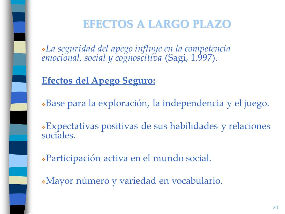 EFECTOS A LARGO PLAZO La seguridad del apego influye en la competencia emocional, social y cognoscitiva (Sagi, 1.997).