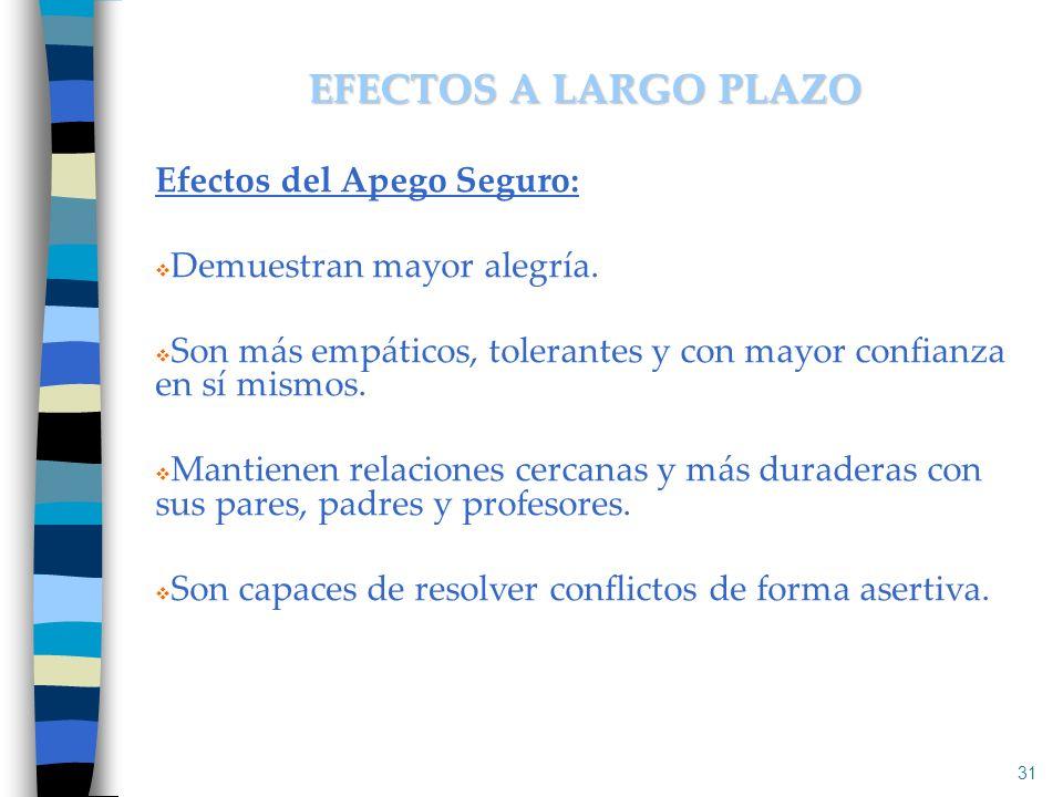 EFECTOS A LARGO PLAZO Efectos del Apego Seguro: