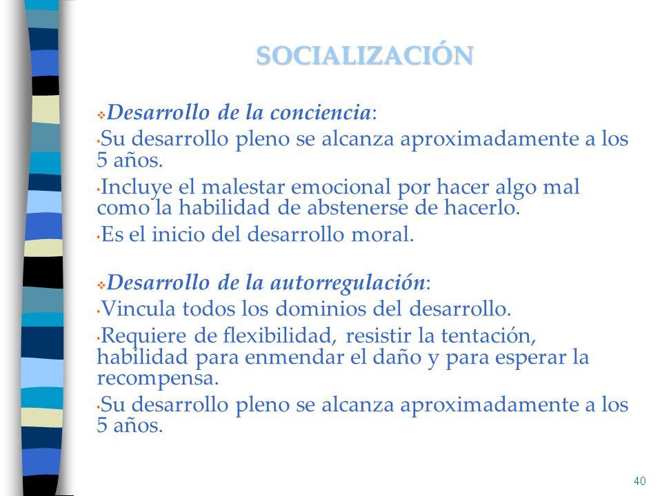 SOCIALIZACIÓN Desarrollo de la conciencia: