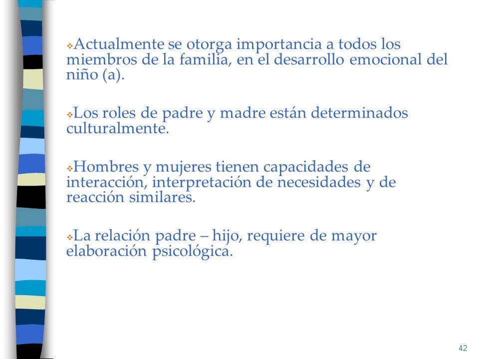 Actualmente se otorga importancia a todos los miembros de la familia, en el desarrollo emocional del niño (a).