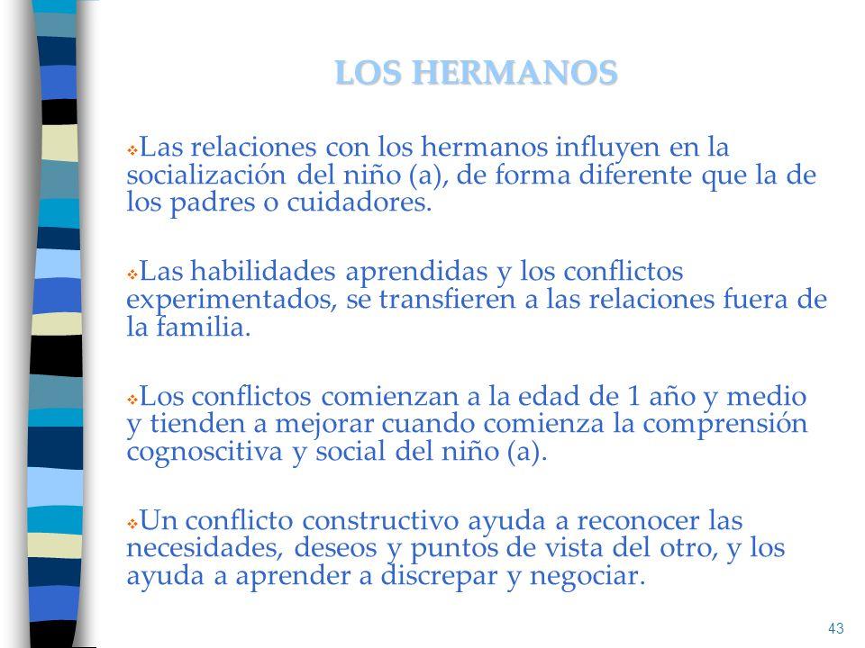 LOS HERMANOS Las relaciones con los hermanos influyen en la socialización del niño (a), de forma diferente que la de los padres o cuidadores.
