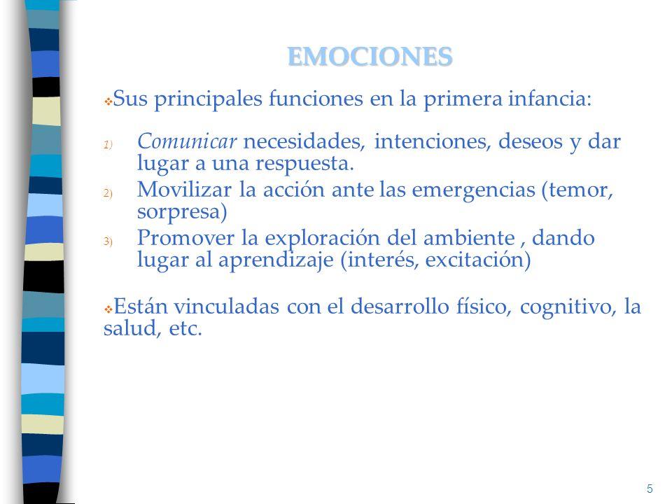 EMOCIONES Sus principales funciones en la primera infancia: