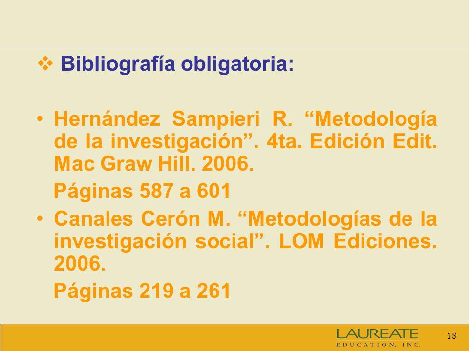 Bibliografía obligatoria: