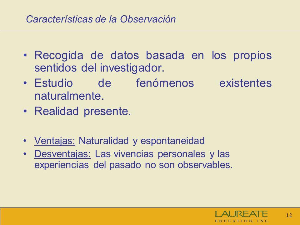 Características de la Observación