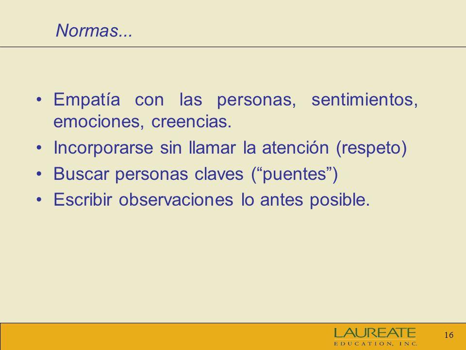 Normas... Empatía con las personas, sentimientos, emociones, creencias. Incorporarse sin llamar la atención (respeto)