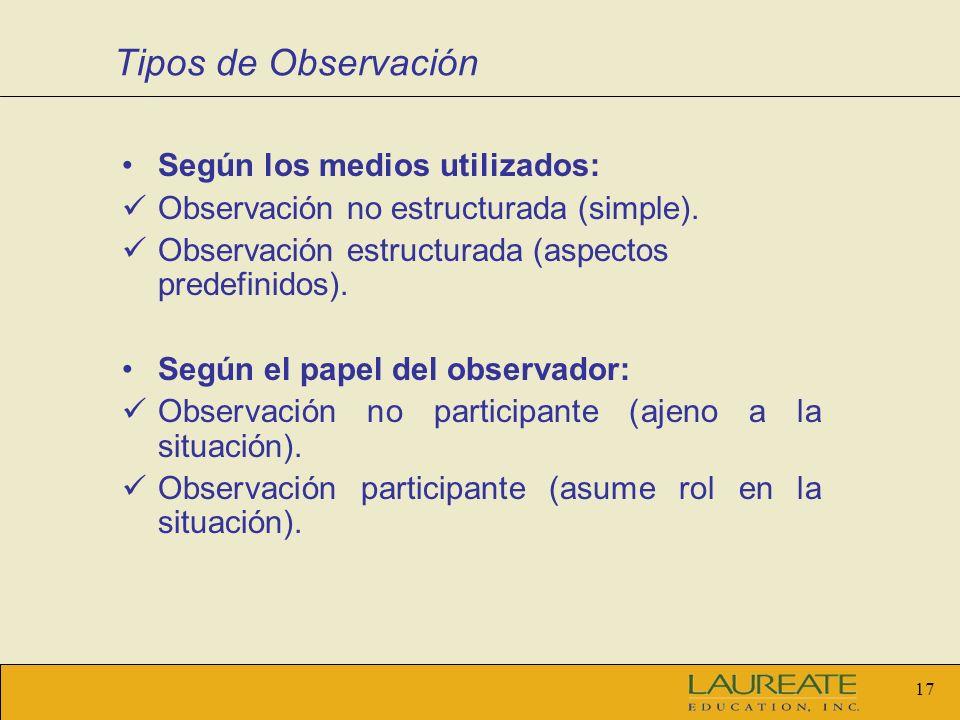 Tipos de Observación Según los medios utilizados: