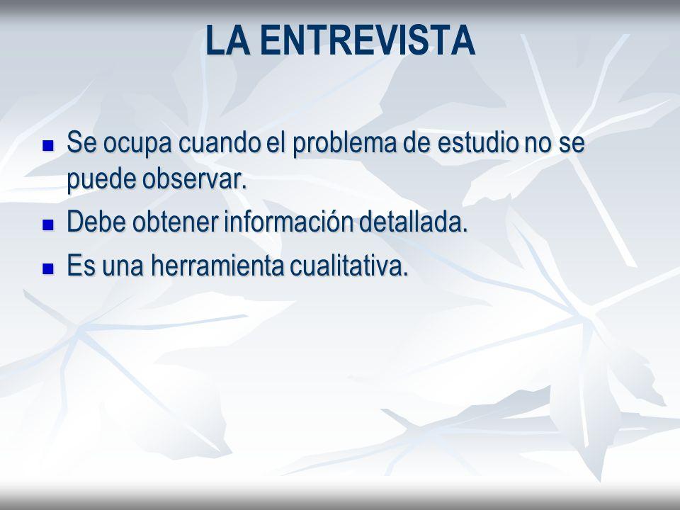 LA ENTREVISTA Se ocupa cuando el problema de estudio no se puede observar. Debe obtener información detallada.