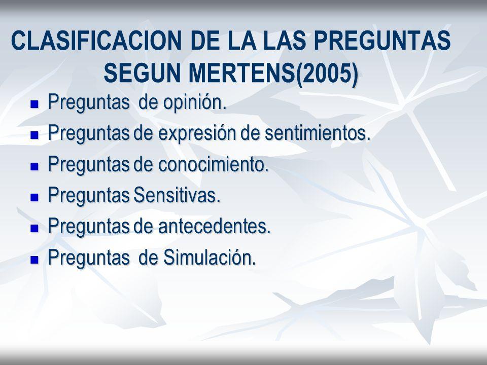 CLASIFICACION DE LA LAS PREGUNTAS SEGUN MERTENS(2005)