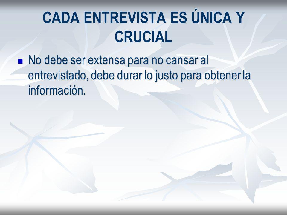 CADA ENTREVISTA ES ÚNICA Y CRUCIAL