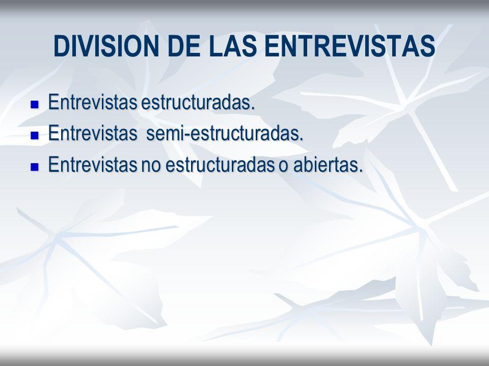 DIVISION DE LAS ENTREVISTAS