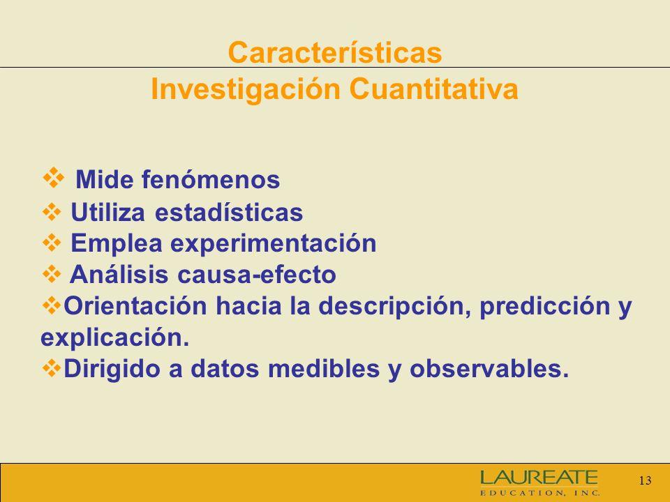 Características Investigación Cuantitativa