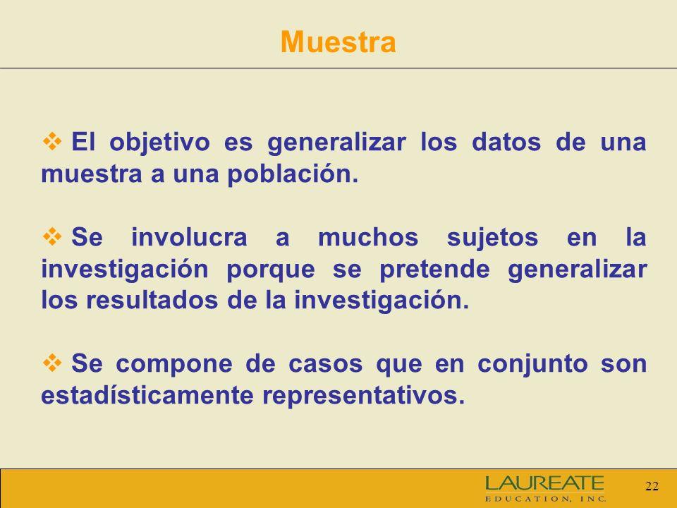 Muestra El objetivo es generalizar los datos de una muestra a una población.