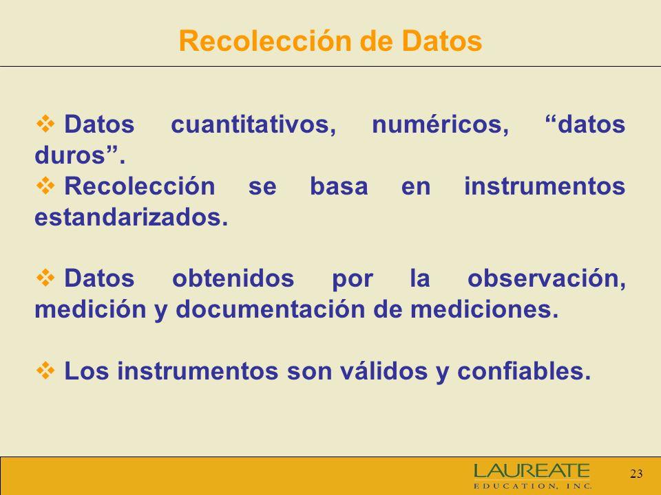 Recolección de Datos Datos cuantitativos, numéricos, datos duros .