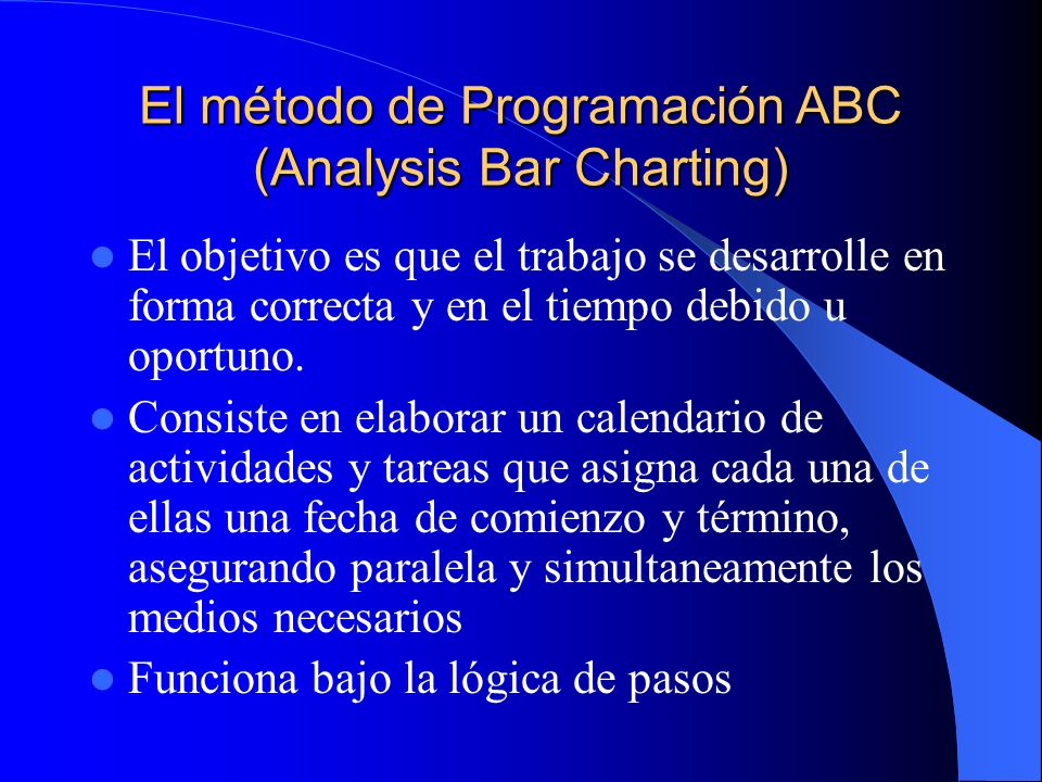 El método de Programación ABC (Analysis Bar Charting)