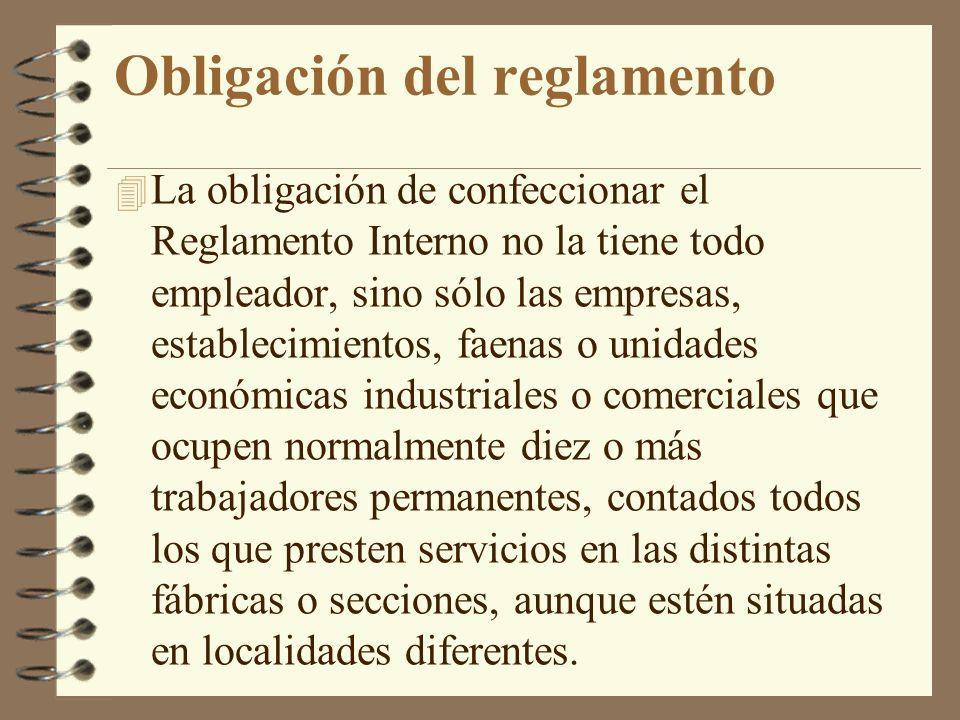 Obligación del reglamento