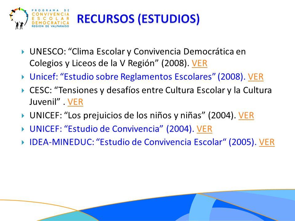 RECURSOS (ESTUDIOS)UNESCO: Clima Escolar y Convivencia Democrática en Colegios y Liceos de la V Región (2008). VER.